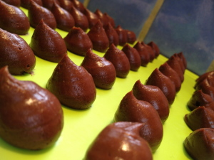 Chilli ganache piped and ready for coating!
