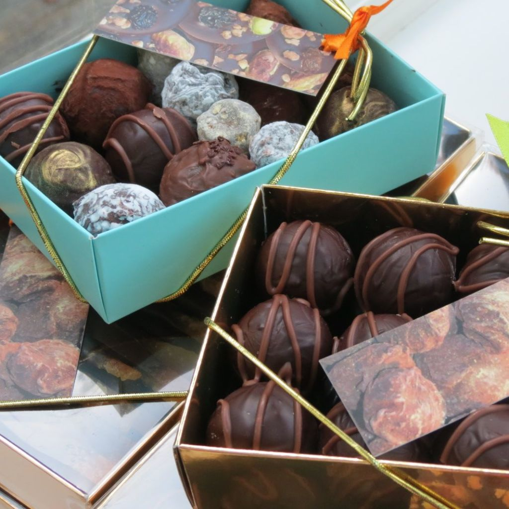 Boxes of truffles backed and ready to go